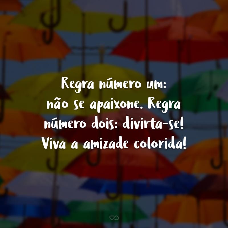Regra número um: não se apaixone. Regra número dois: divirta-se! Viva a amizade colorida!