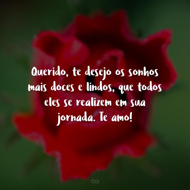 Querido, te desejo os sonhos mais doces e lindos, que todos eles se realizem em sua jornada. Te amo!