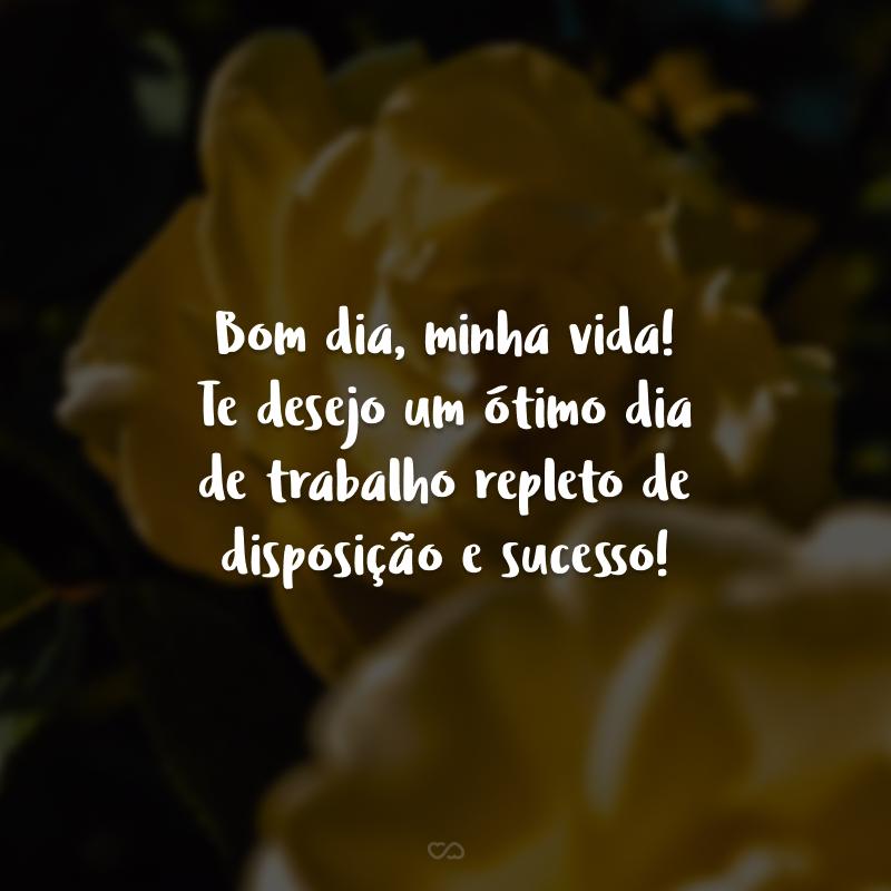Bom dia, minha vida! Te desejo um ótimo dia de trabalho repleto de disposição e sucesso!