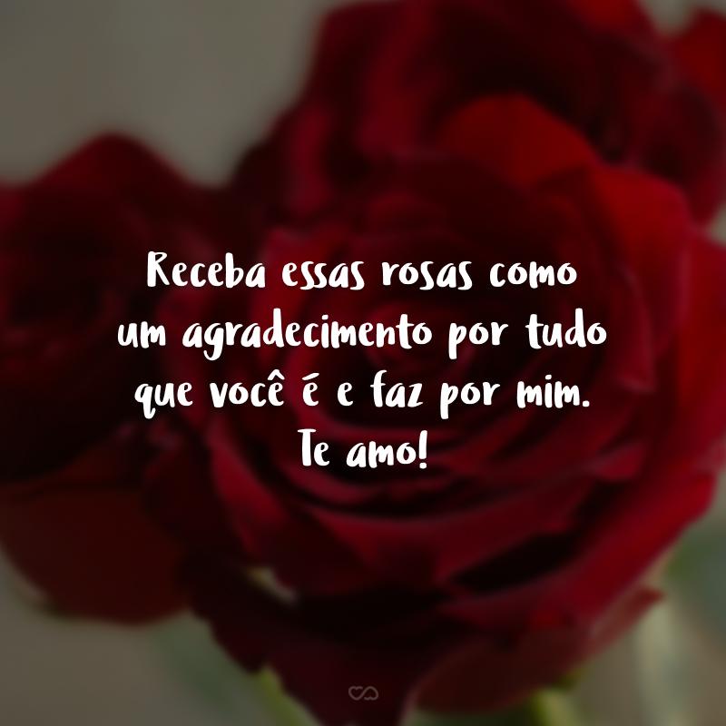 Receba essas rosas como um agradecimento por tudo que você é e faz por mim. Te amo!