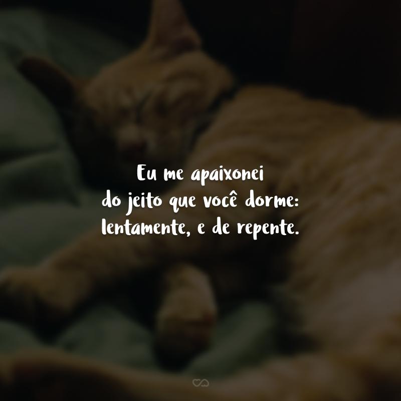 Eu me apaixonei do jeito que você dorme: lentamente, e de repente.