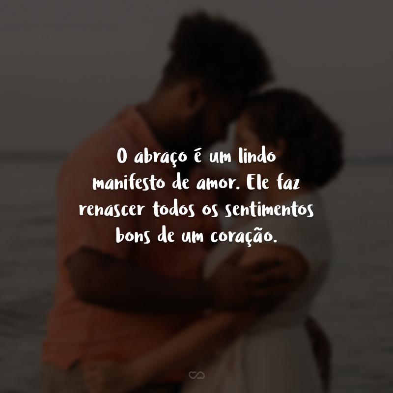 O abraço é um lindo manifesto de amor. Ele faz renascer todos os sentimentos bons de um coração.