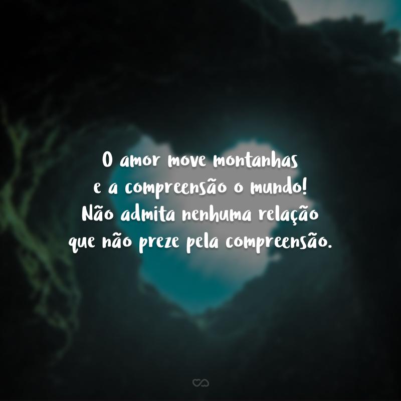 O amor move montanhas e a compreensão o mundo! Não admita nenhuma relação que não preze pela compreensão.