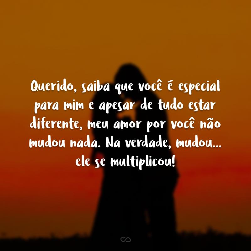 Querido, saiba que você é especial para mim e apesar de tudo estar diferente, meu amor por você não mudou nada. Na verdade, mudou... ele se multiplicou!