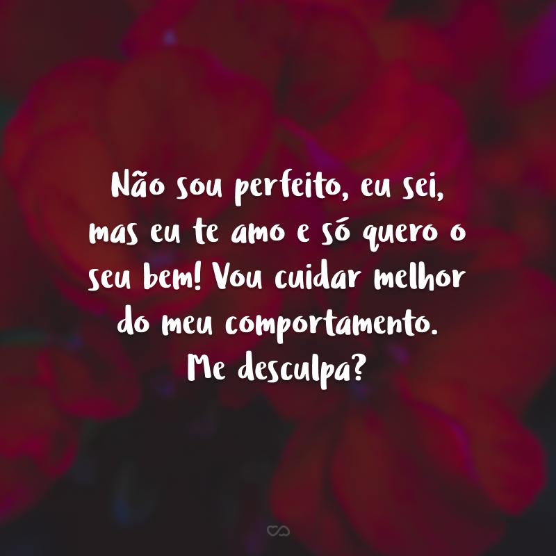 Não sou perfeito, eu sei, mas eu te amo e só quero o seu bem! Vou cuidar melhor do meu comportamento. Me desculpa?